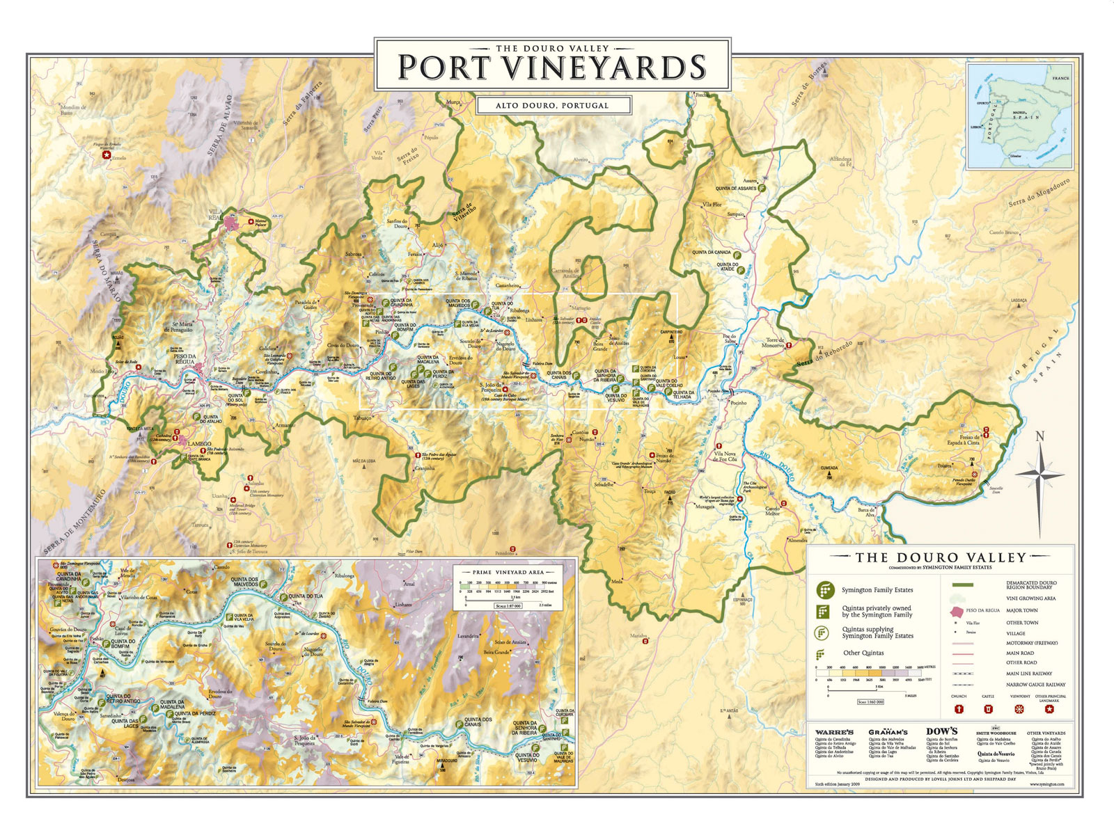 Vineyards Grahams - Portugal motorway map